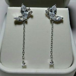 Jewelry - 925SS Simulate Diamond butterfly dangling earrings